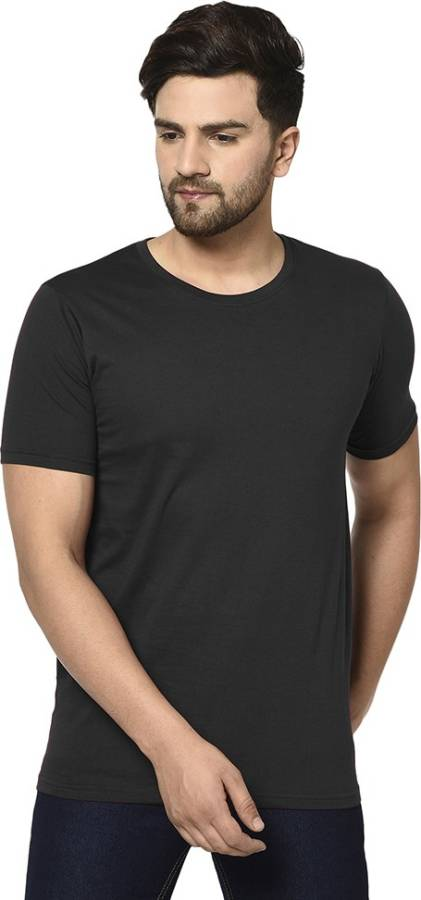 Solid Men Round Neck Black T-Shirt Price in India