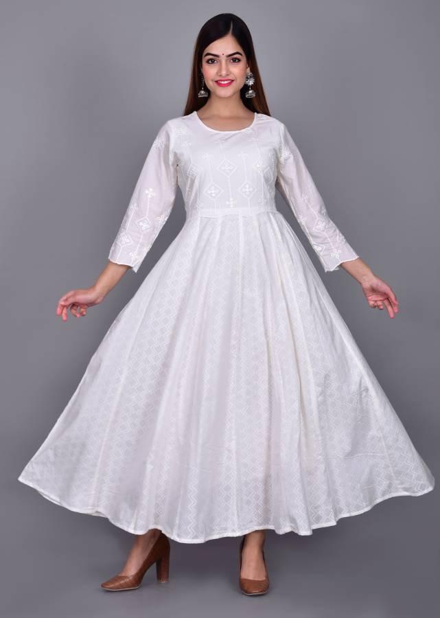 Women Embroidered Cotton Blend Anarkali Kurta Price in India