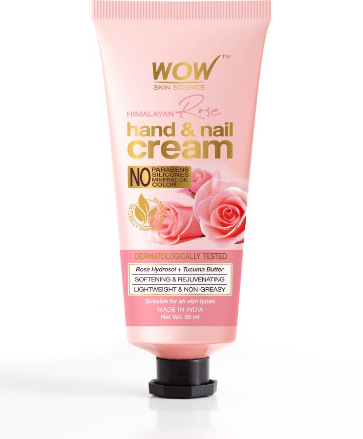 WOW Skin Science Himalayan Rose Hand & Nail Cream - Softening & Rejuvenating - Lightweight & Non-Greasy - Quick Absorb - for All Skin Types - No Parabens, Silicones, Mineral Oil & Color - 50mL Price in India