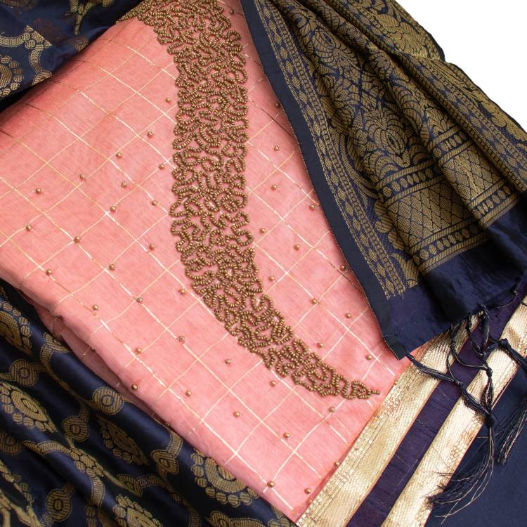 Chanderi Embroidered Salwar Suit Material Price in India