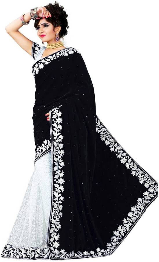 Embroidered Banarasi Net, Velvet Saree Price in India