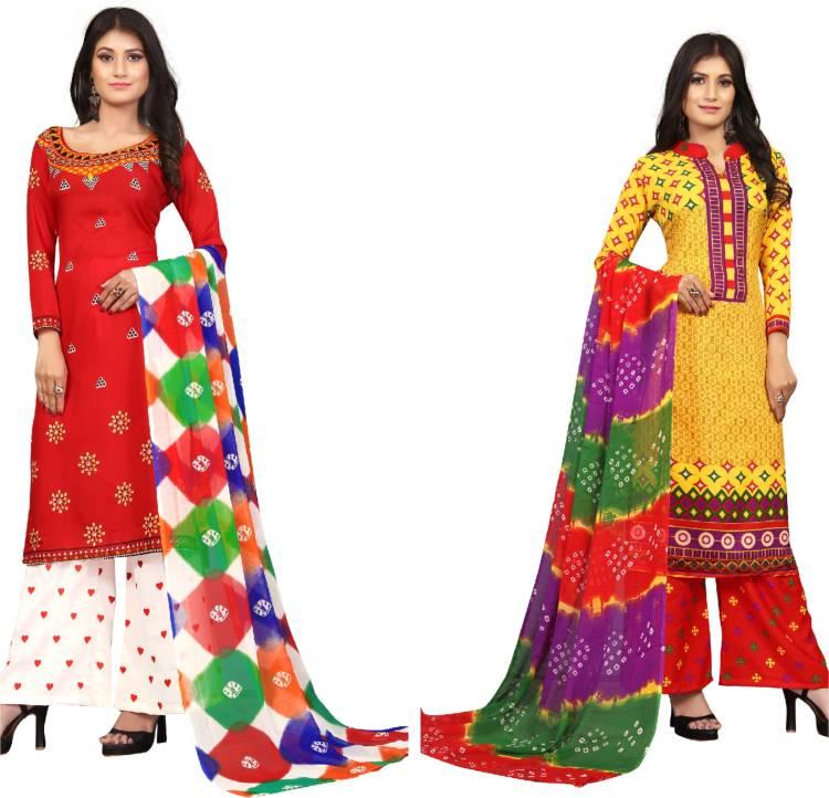 Crepe Printed Kurta & Churidar Material Price in India