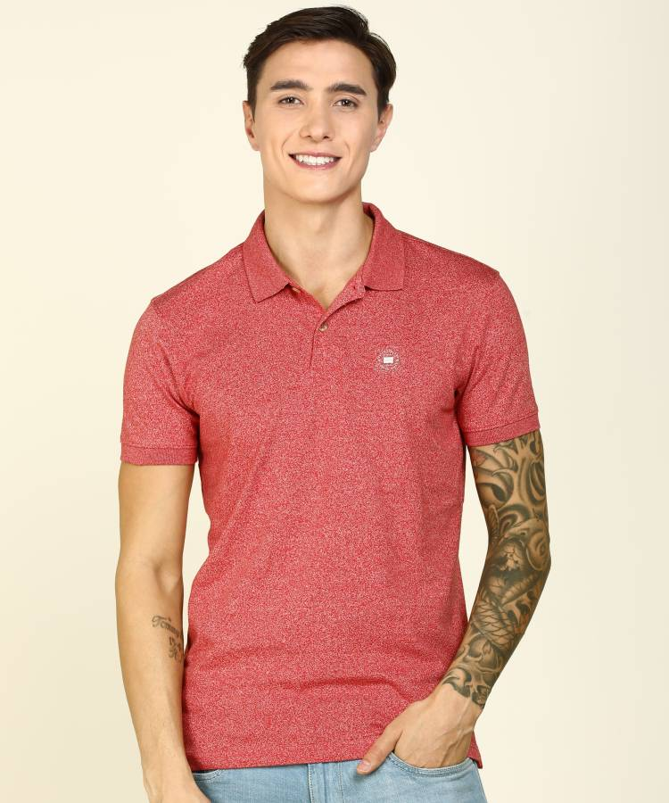 Self Design Men Polo Neck Red T-Shirt Price in India