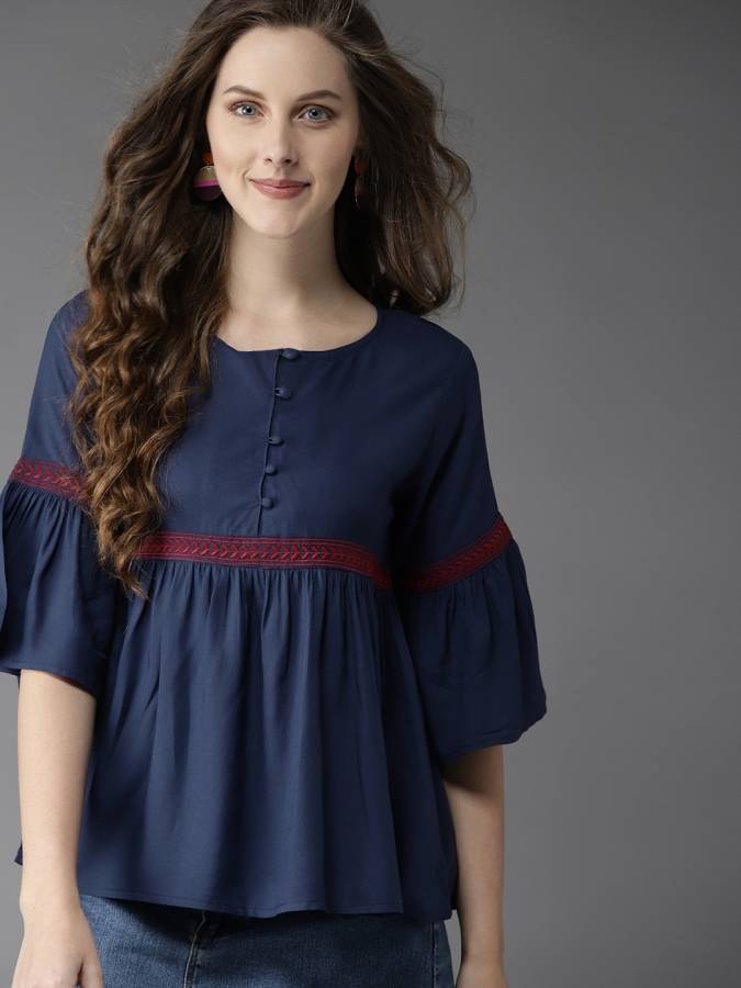 Casual 3/4 Sleeve Embroidered Women Dark Blue Top Price in India