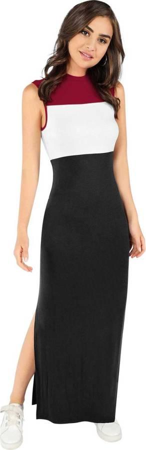 Women Maxi White, Maroon, Black Dress Price in India