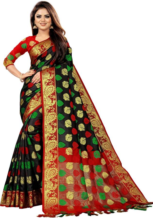 Woven, Embroidered, Checkered Banarasi Cotton Silk, Jacquard Saree Price in India