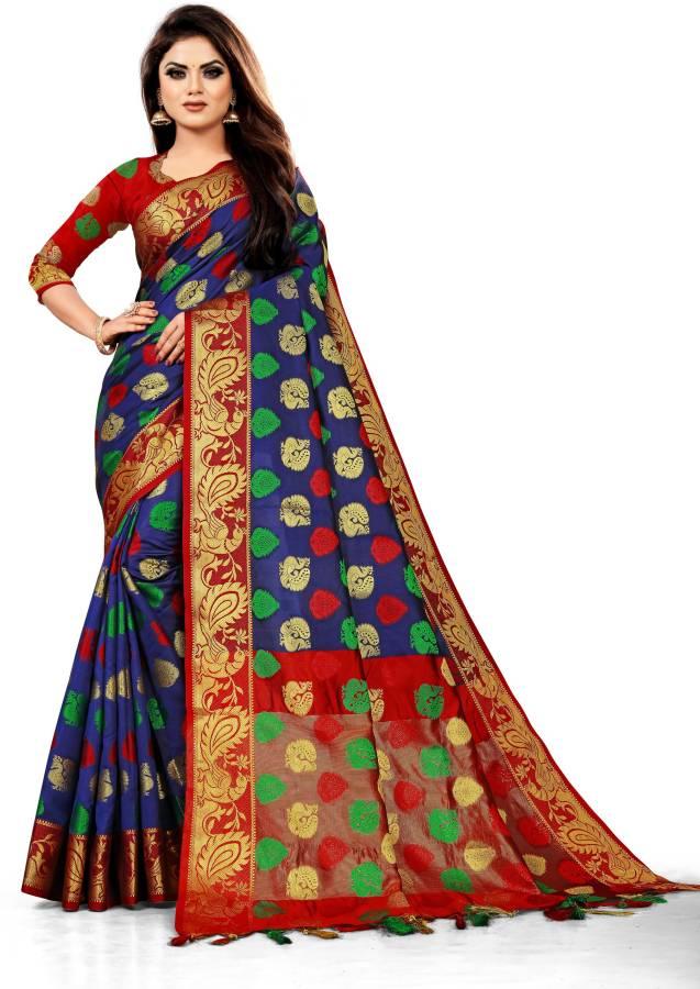 Woven, Embroidered, Checkered Banarasi Cotton Silk, Jacquard Saree Price in India