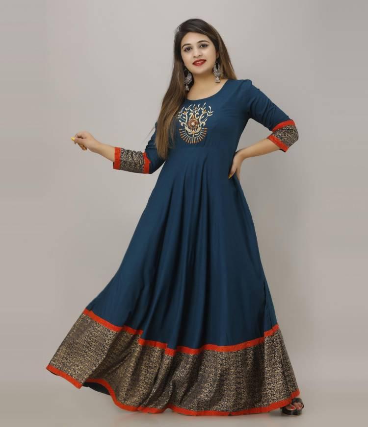Women Embroidered Rayon Flared Kurta Price in India