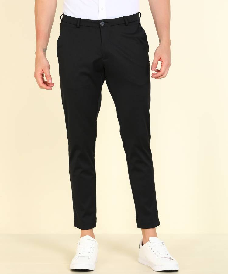 Tapered Men Grey Rayon Crepe Blend Trousers
