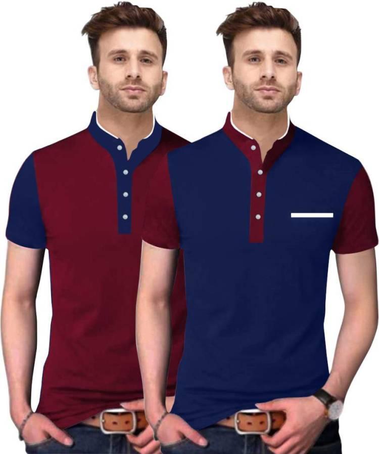 Solid Men Mandarin Collar Blue, Maroon T-Shirt Price in India
