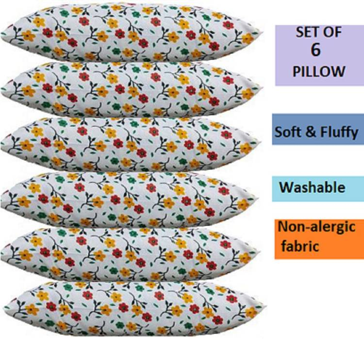 DONDA Flower Print Microfibre Floral Sleeping Pillow Pack of 6