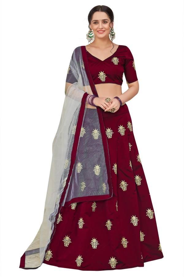 Embroidered Semi Stitched Lehenga Choli Price in India