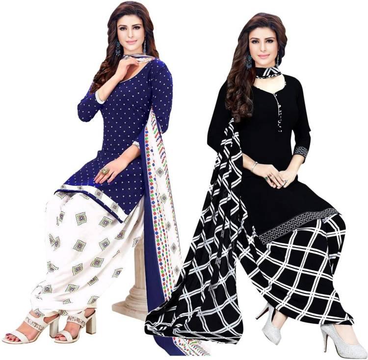 Crepe Geometric Print, Printed Salwar Suit Material Price in India