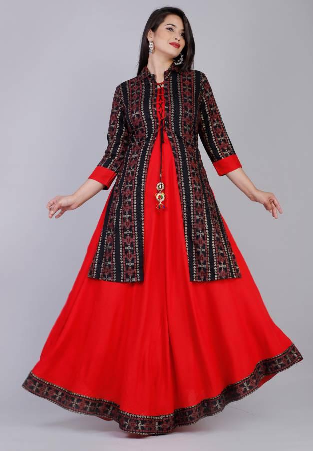 Women Printed Cotton Rayon Blend Anarkali Kurta Price in India