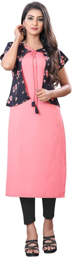 Women Printed, Solid Cotton Crepe Blend A-line Kurta Price in India