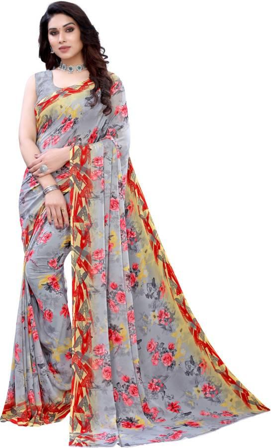 Floral Print, Geometric Print, Printed Bollywood Georgette Saree Price in India