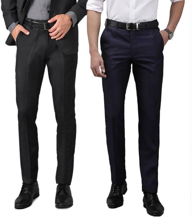 Regular Fit Men Black, Blue Cotton Blend Trousers