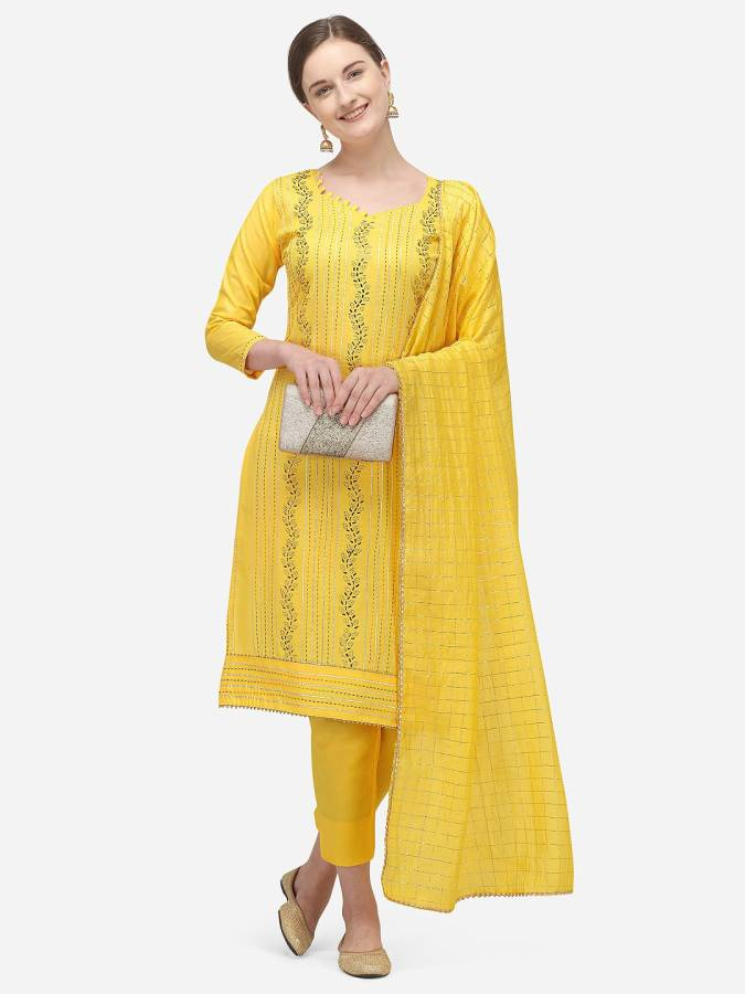 Cotton Embellished Salwar Suit Material Price in India