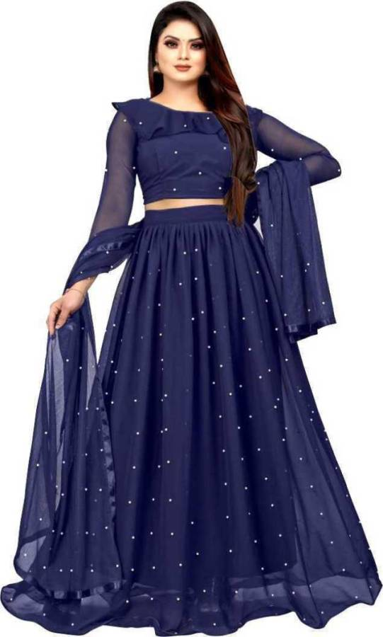 Embellished Semi Stitched Lehenga Choli Price in India