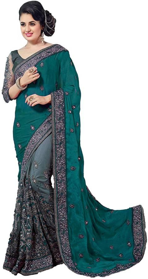 Embroidered Fashion Net, Vichitra Saree Price in India