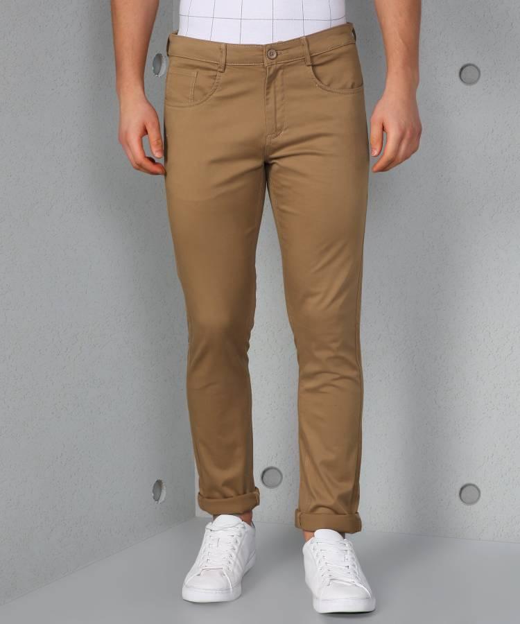 Slim Fit Men Cotton Lycra Blend Khaki Cotton Lycra Blend Trousers