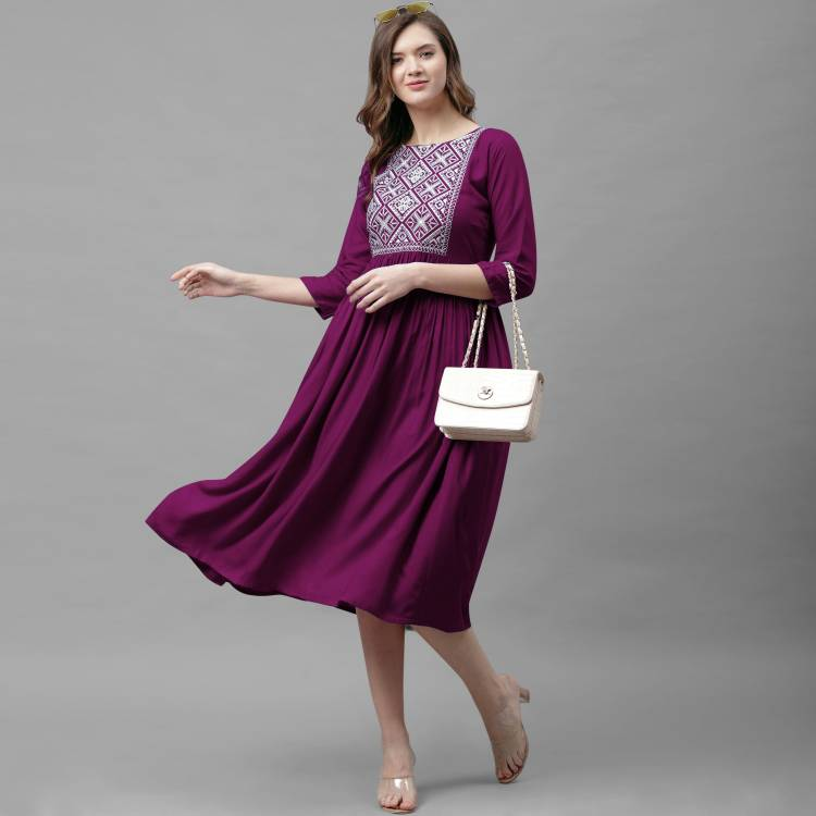 Women A-line Purple Dress Price in India