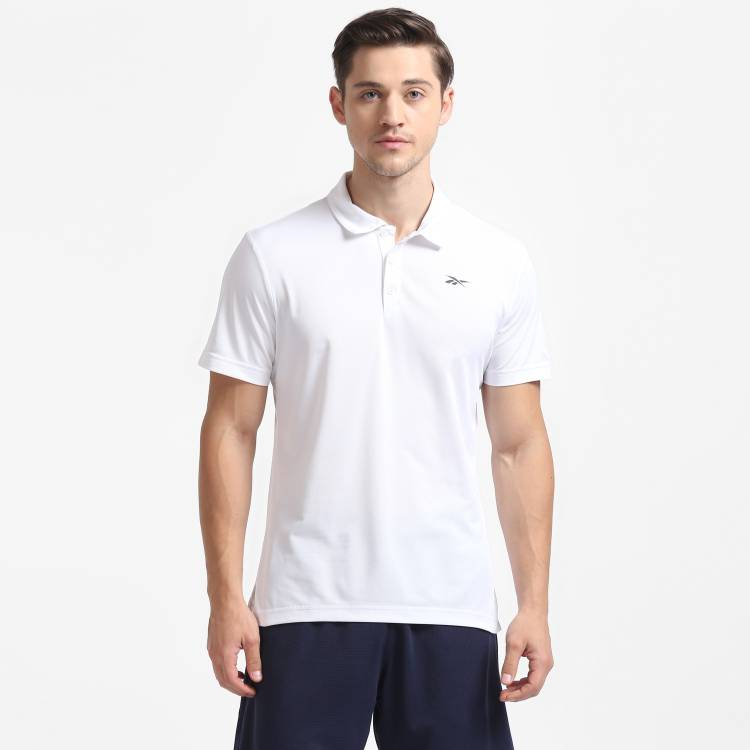 Color Block Men Polo Neck White T-Shirt Price in India