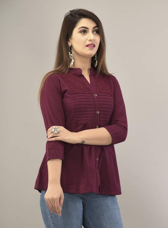 Women Regular Fit Solid Mandarin Collar Casual Shirt