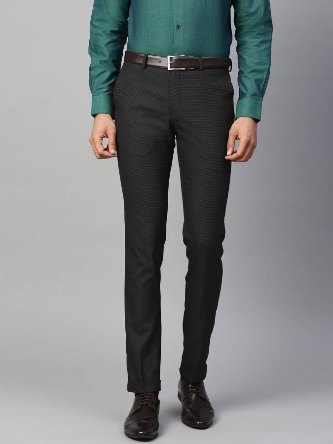 Skinny Fit Men Blue Polyester Viscose Blend Trousers