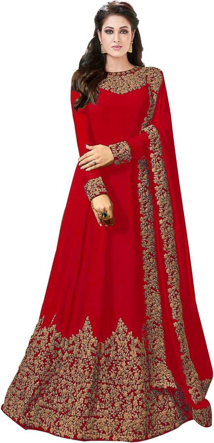 Poly Silk Embroidered Gown/Anarkali Kurta & Bottom Material Price in India