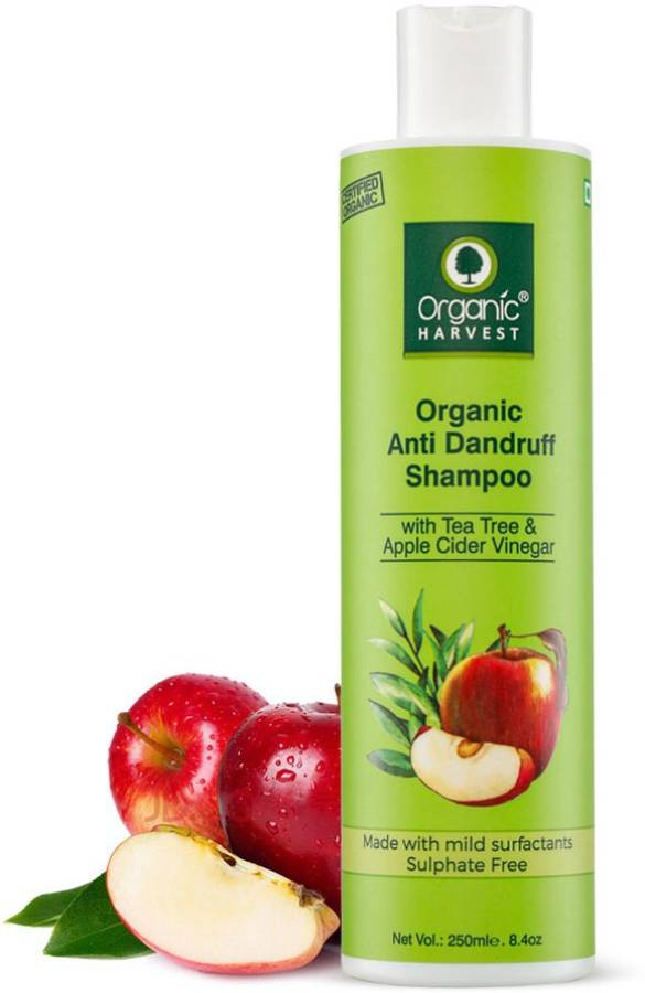 Organic Harvest Anti Dandruff Shampoo with Tea Tree and Apple Cider Vinegar for Women & Men   For All Type Hair   Free from Chemicals, Mineral Oils, Alcohol Price in India