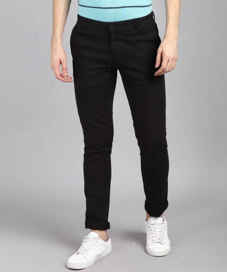 Skinny Fit Men Black Cotton Blend Trousers