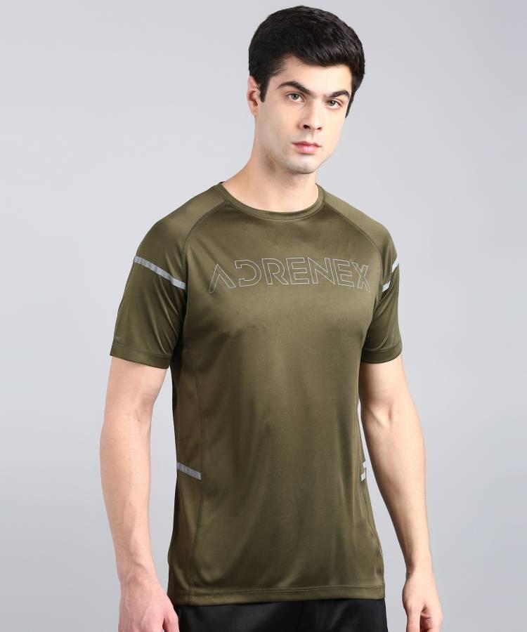 Printed Men Round Neck Dark Green T-Shirt Price in India