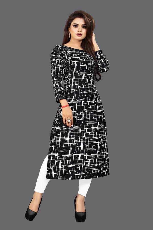 Women Printed Crepe Straight Kurta Price in India