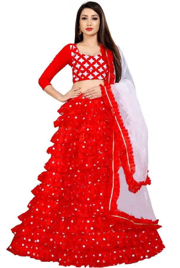 Embellished Semi Stitched Lehenga Choli Price in India