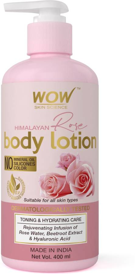 WOW SKIN SCIENCE Himalayan Rose Body Lotion -Toning & Hydrating - with Rose Water, Beetroot Extract - No Mineral Oil, Silicones & Color - 400mL Price in India
