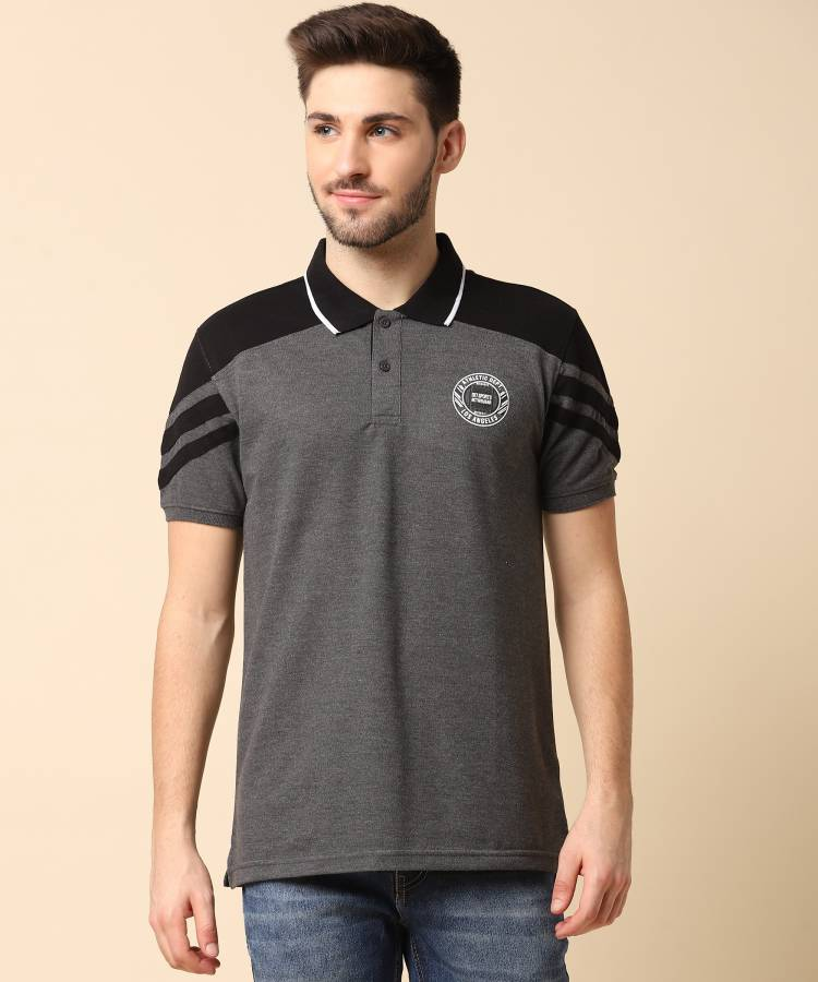 Color Block Men Polo Neck Grey T-Shirt Price in India