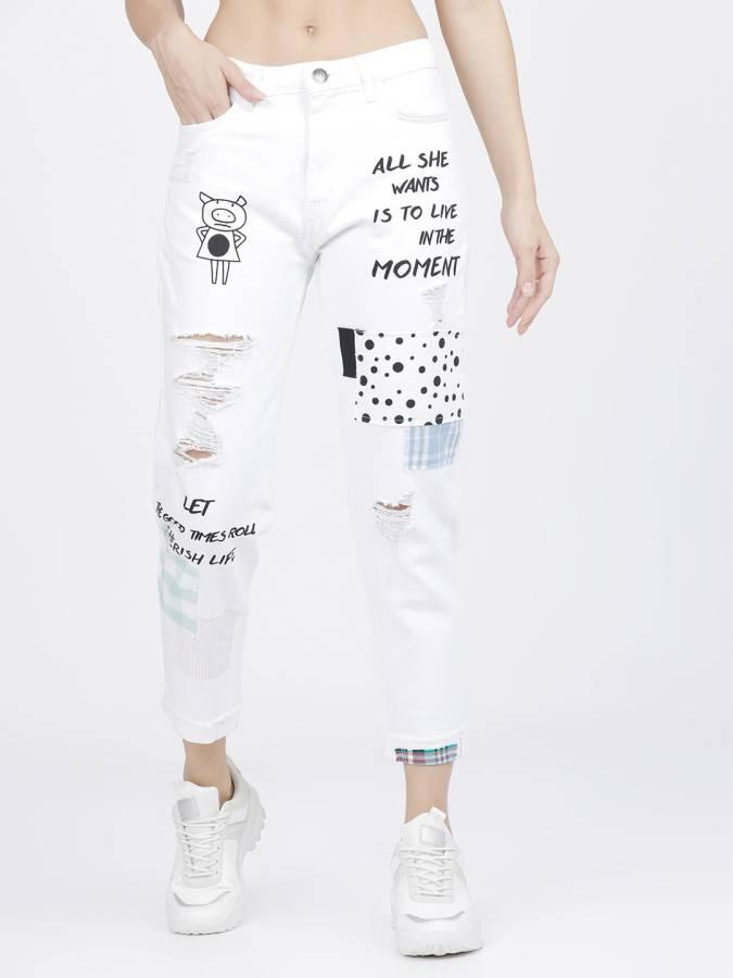 Boyfriend Women White Jeans