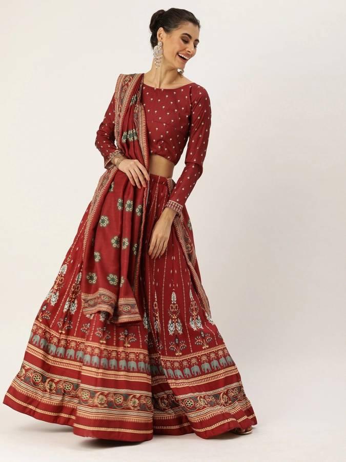 Printed Semi Stitched Lehenga Choli Price in India