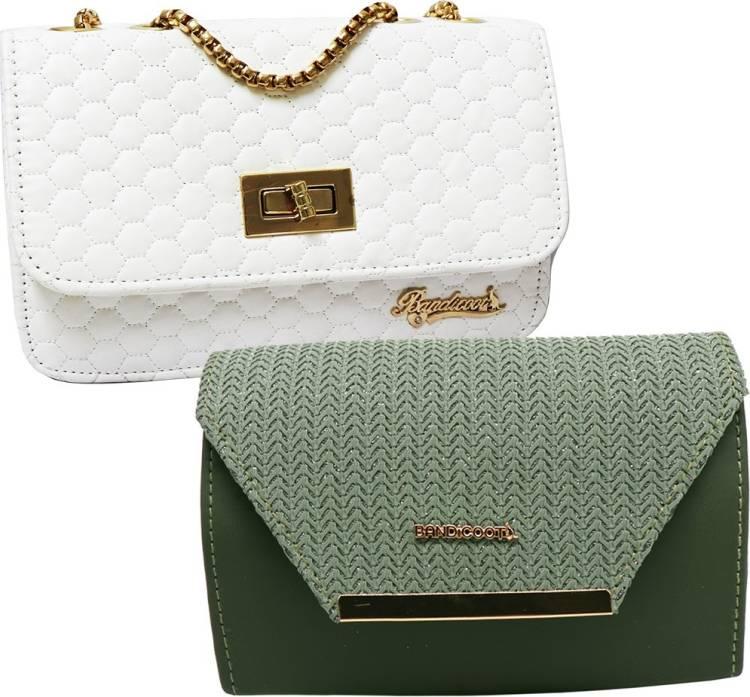 White, Green Women Sling Bag Price in India