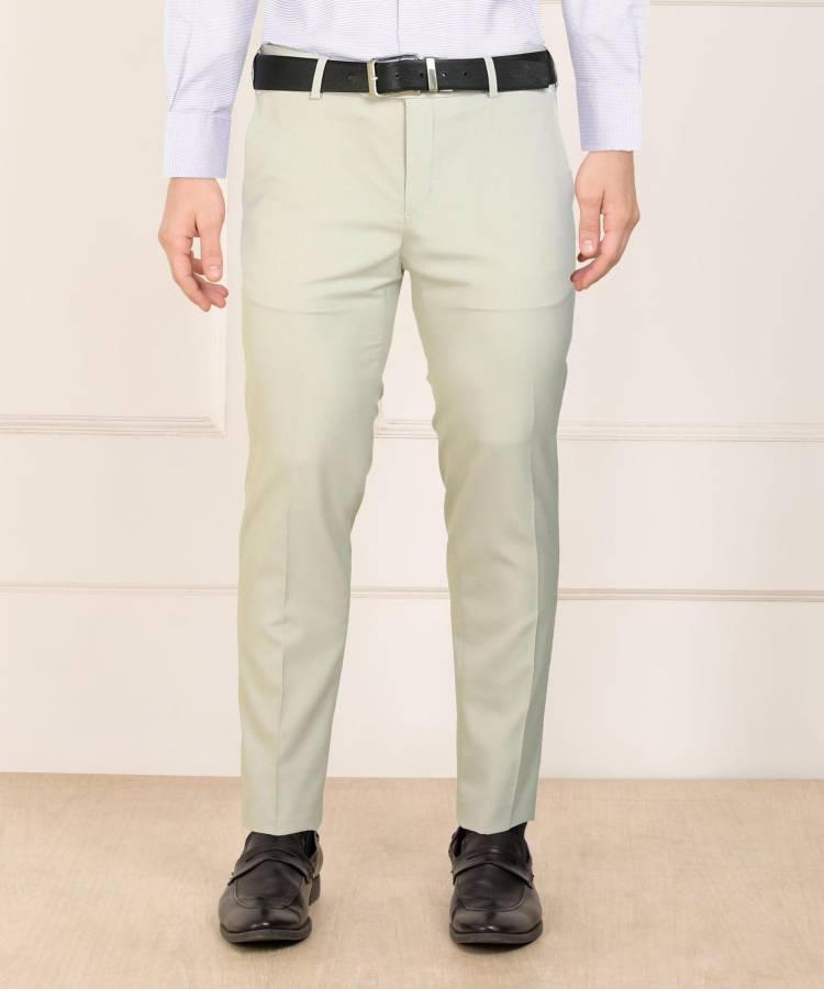Slim Fit Men Cream Polyester Blend Trousers