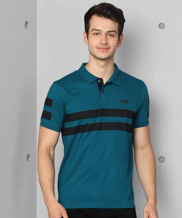 Striped Men Polo Neck Green T-Shirt