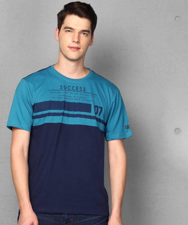 Color Block Men Round Neck Blue T-Shirt Price in India