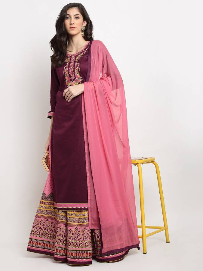 Cotton Silk Blend Embroidered Salwar Suit Material Price in India