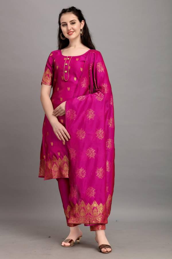 Poly Silk Woven Kurta & Palazzo Material Price in India