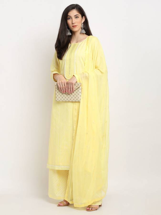 Cotton Embroidered Kurta & Palazzo Material Price in India