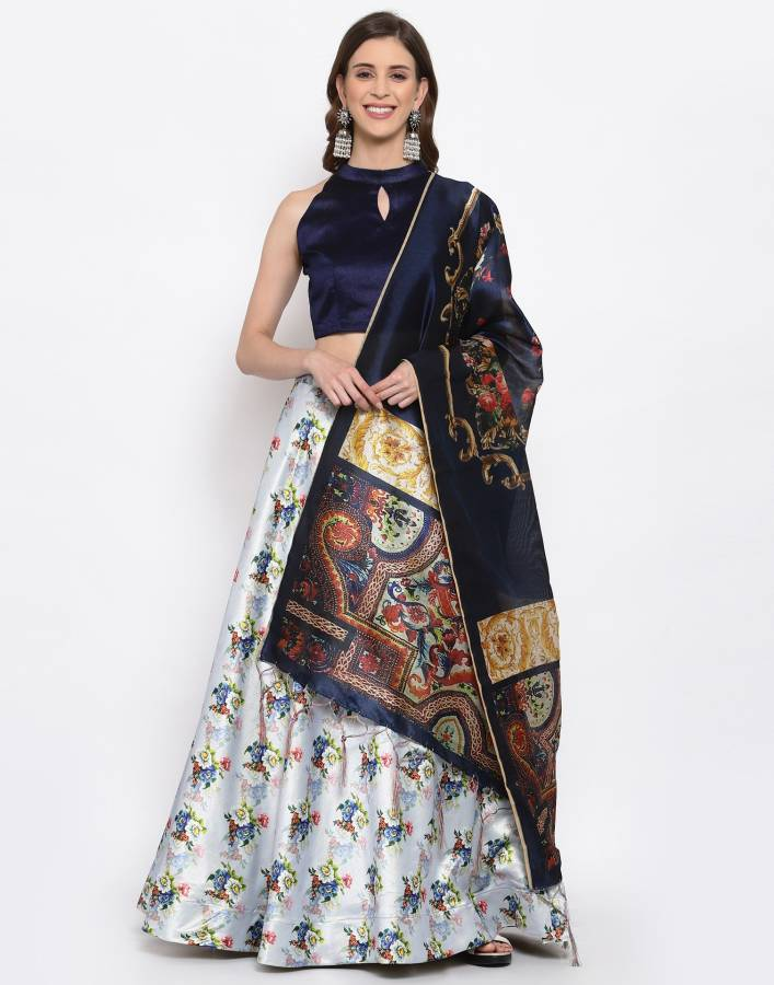 Floral Print, Graphic Print, Digital Print, Printed, Embellished Semi Stitched Lehenga Choli Price in India