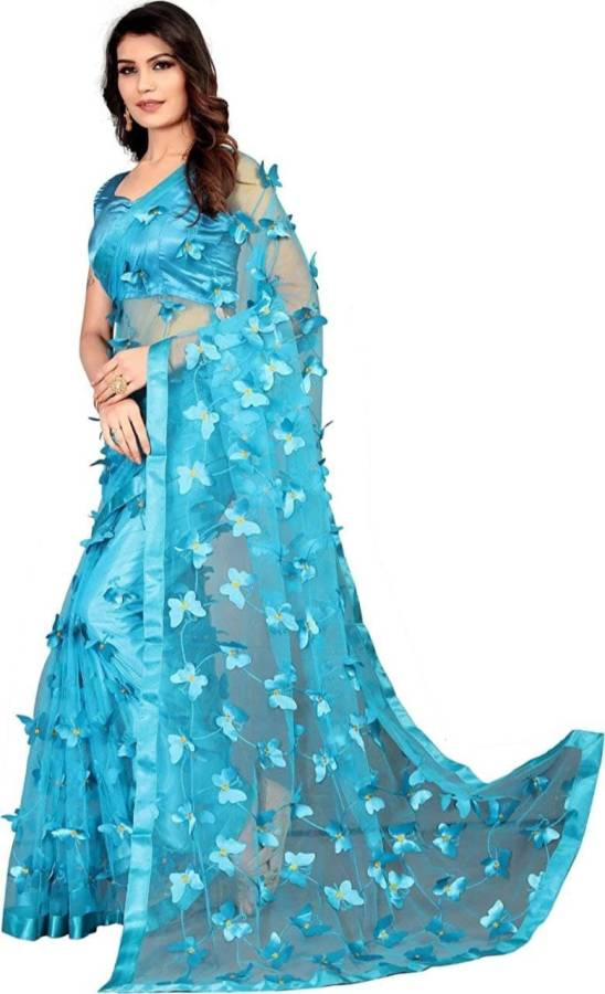 Applique, Embroidered Bollywood Net Saree