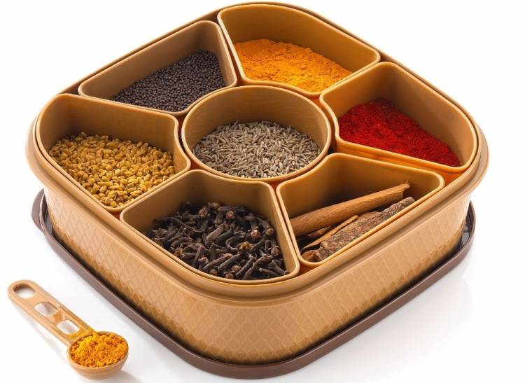OMORTEX 7 IN 1 Elegant Masala Box and Spice Containers Set 1 Piece Spice Set
