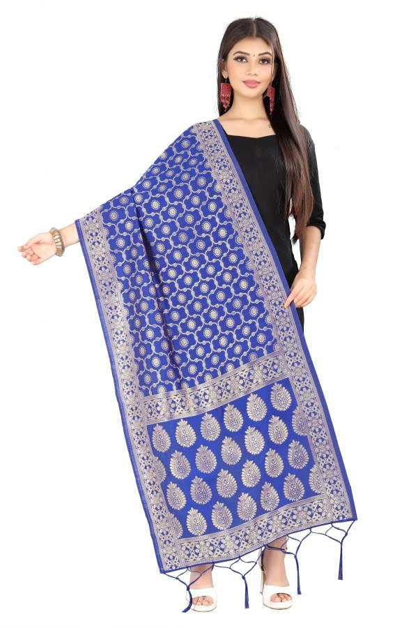 Silk Blend Floral Print Light Blue Women Dupatta